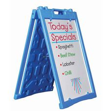 Universal Sidewalk A-Frame Sign Holder with Deluxe White Markerboard - Blue - 27