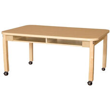 Mobile Four-Seater Classroom High Pressure Laminate Desk with Hardwood Legs - 48