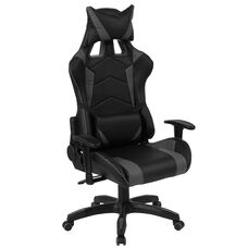 Reclining Gaming Chair Racing Office Ergonomic PC Adjustable Swivel Chair with Adjustable Lumbar Support, Black/Gray LeatherSoft