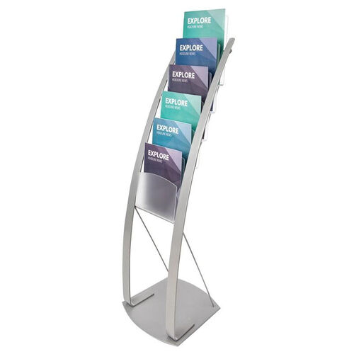 Our Contemporary Magazine Floor Display Stand - Silver is on sale now.