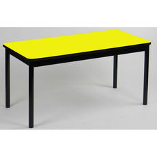 High Pressure Laminate Rectangular Library Table with Black Base and T-Mold - Yellow Top - 36