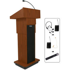 Wireless Height Adjustable Column 150 Watt Sound Lectern with Flexible Gooseneck Microphone - 21