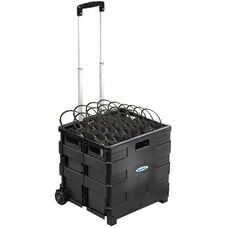 Black Rolling Crate Packed with 50 Personal Economy Foam On-Ear Headphones