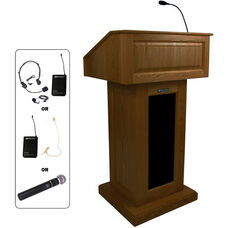 Victoria Wireless 150 Watt Sound and Hand Held Mic Lectern - Walnut Finish - 26.375