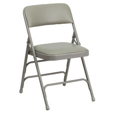 HERCULES Series Curved Triple Braced & Double Hinged Gray Vinyl Fabric Metal Folding Chair