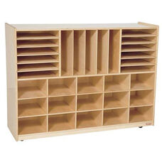 Multi-Storage Healthy Kids Plywood Unit with Fifteen Cubbies and Seventeen Other Storage Compartments - Assembled - 48