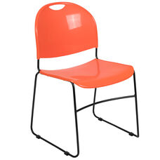 HERCULES Series 880 lb. Capacity Orange Ultra-Compact Stack Chair with Black Powder Coated Frame