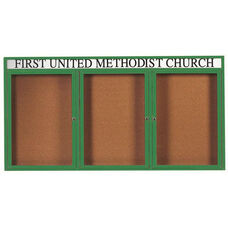 3 Door Indoor Enclosed Bulletin Board with Header and Green Powder Coated Aluminum Frame - 48