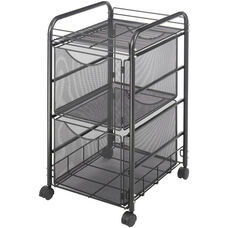 Onyx™ 15.75'' W x 17'' D x 27'' H Mesh File Cart with Two File Drawers - Black
