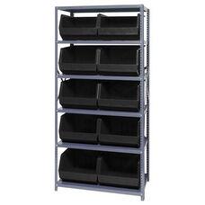 18''D Giant Open Hopper Storage Unit with 10 Bins - Black