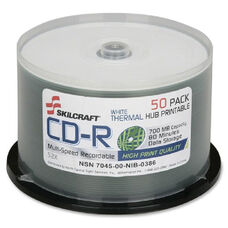 Skilcraft Thermal Printable 52X Cd-R Discs - Pack Of 50