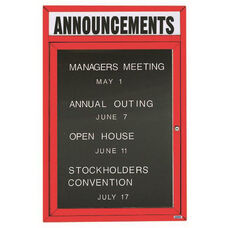 1 Door Outdoor Enclosed Directory Board with Header and Red Anodized Aluminum Frame - 24