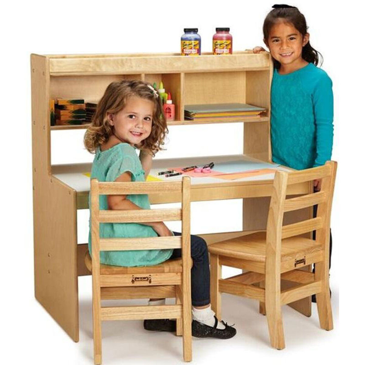 Our Wooden Dual Student Writing Desk With 21 H Desktop 36