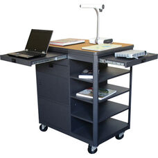 Vizion Presenter Multimedia Cart with Steel Doors with Four Side Shelves- Oak Laminate