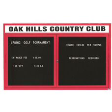 2 Door Indoor Illuminated Enclosed Directory Board with Header and Red Anodized Aluminum Frame - 36
