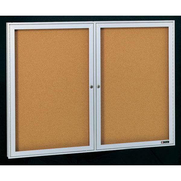 ... Our Deluxe 2 Door Bulletin Board Cabinet With Tan Nucork Back Panel    60u0027u0027