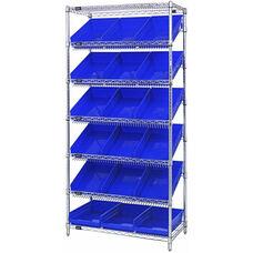 Stationary Slanted Wire Shelving with 18 Economy Shelf Bins - Blue
