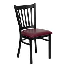 Black Vertical Back Metal Restaurant Chair with Burgundy Vinyl Seat