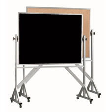 Reversible Free Standing Black Chalkboard and Natural Pebble Grain Cork Combination Board with Aluminum Frame
