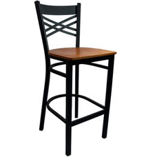 Advantage Cross Back Metal Bar Stool - Cherry Wood Seat