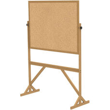Reversible Double Sided Natural Cork Bulletin Board with Wooden Frame - 73.5