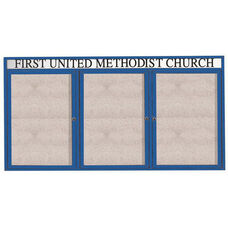 3 Door Outdoor Enclosed Bulletin Board with Header and Blue Powder Coated Aluminum Frame - 48