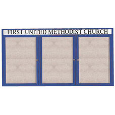 3 Door Outdoor Enclosed Bulletin Board with Header and Blue Powder Coated Aluminum Frame - 36