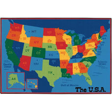 Kids Value USA Map Rectangular Nylon Rug - 72