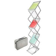 Collapsible Six Shelf Display Floor Stand with Case - Silver