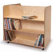 Two Sided Birch Laminate Mobile Library Cart with Lockable Heavy Duty Casters