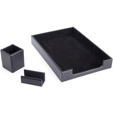 Luxury Genuine Leather Desk Set: Pen Cup Organizer, Letter Tray, and Business Card Holder Lined with Genuine Suede - Black