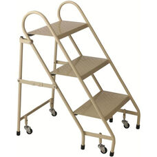 3 Step Steel Folding Ladder - Beige