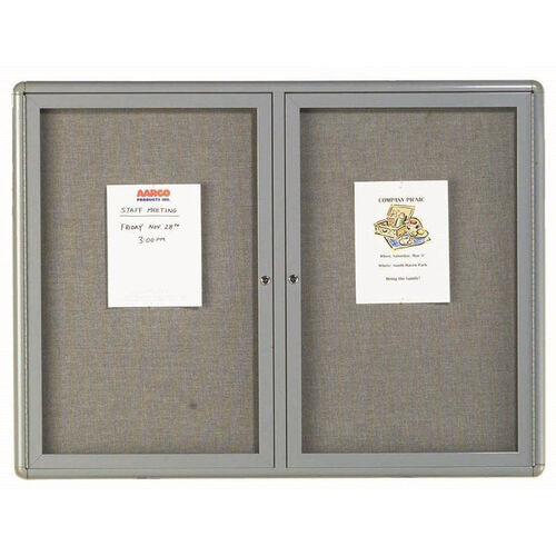 Our 2 Door Radius Design Enclosed Bulletin Board with Gray Fabric and Medium Gray Frame - 36