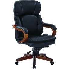 Inspired By Bassett Van Buren Bonded Leather Knee Tilt Executive Chair - Black
