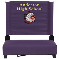 Embroidered Grandstand Comfort Seats by Flash with Ultra-Padded Seat in Dark Purple