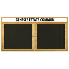 2 Door Enclosed Changeable Letter Board with Header and Oak Finish - 36