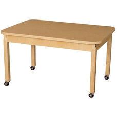 Mobile Rectangular High Pressure Laminate Table with Hardwood Legs - 44