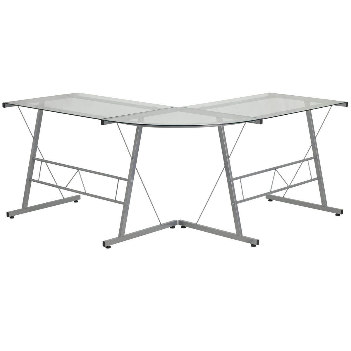 Our Glass L Shape Computer Desk With Silver Metal Frame Is On Now
