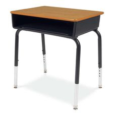 Quick Ship 785 Series Medium Oak Laminate Top Student Desk with Black Open Front Plastic Book Box and Frame - 18''W x 24''D x 23''H - 31''H
