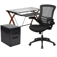Work From Home Kit - Glass Desk with Keyboard Tray, Ergonomic Mesh Office Chair and Filing Cabinet with Lock & Inset Handles