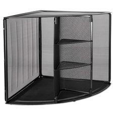 Rolodex™ Mesh Corner Desktop Shelf - Five Sections - 20 x 14 x 13 - Black