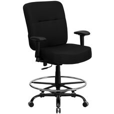 HERCULES Series Big & Tall 400 lb. Rated Black Fabric Drafting Chair with Adjustable Arms