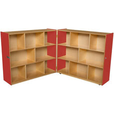 Wooden 16 Compartment Double Folding Mobile Storage Unit -Strawberry - 96