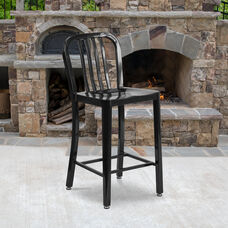 """Commercial Grade 24"""" High Black Metal Indoor-Outdoor Counter Height Stool with Vertical Slat Back"""