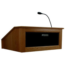 Solid Hardwood Victoria Wired 150 Watt Sound Tabletop Lectern - Walnut Finish - 27