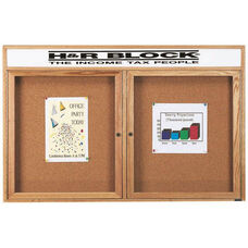 2 Door Enclosed Bulletin Board with Header and Oak Finish - 36