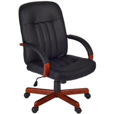 Ethos Height Adjustable Swivel Chair - Black Leather with Cherry Accents