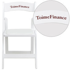 Personalized HERCULES Series White Wood Folding Chair with Vinyl Padded Seat
