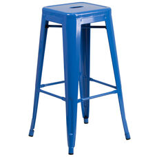 """Commercial Grade 30"""" High Backless Blue Metal Indoor-Outdoor Barstool with Square Seat"""