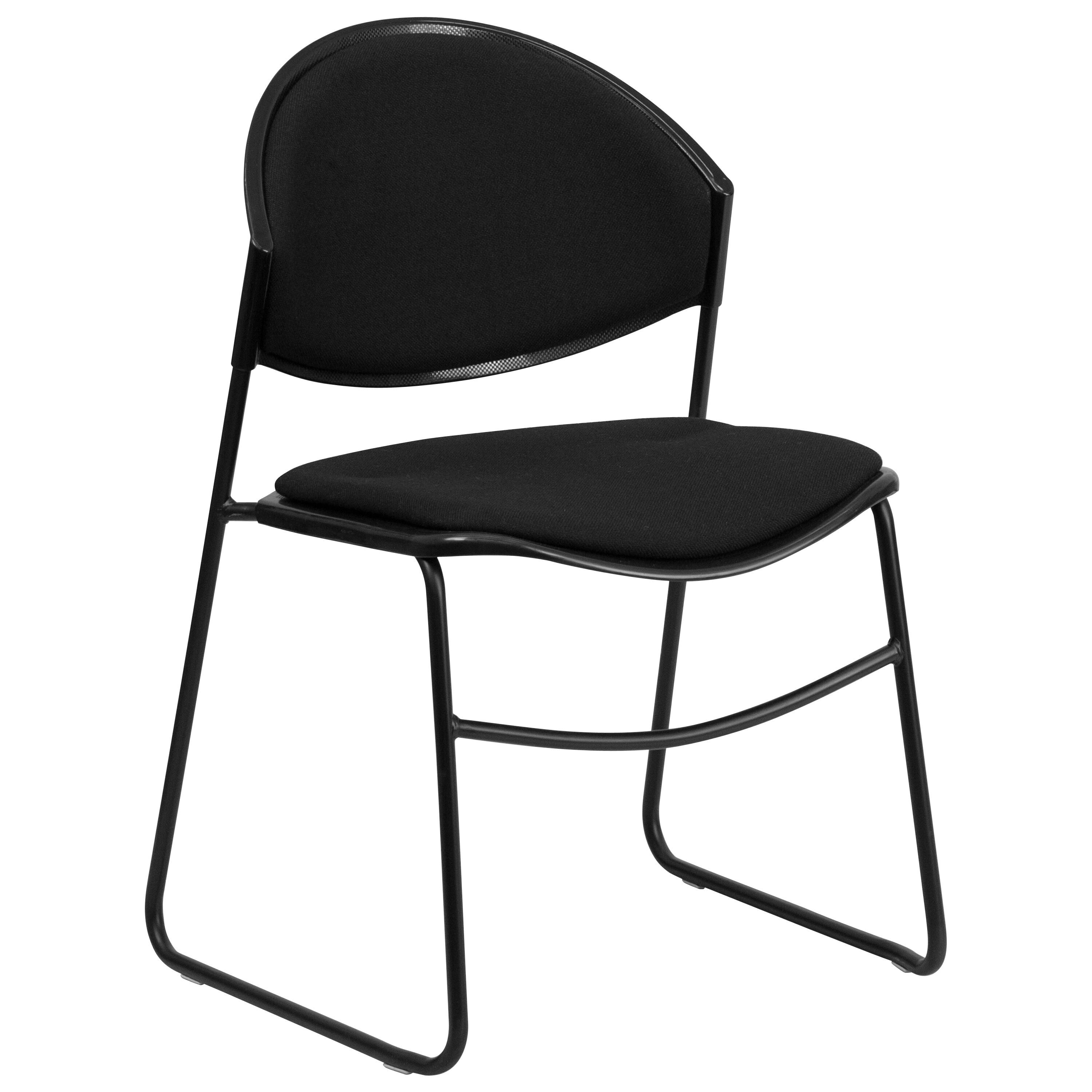 Capacity Black Padded Stack Chair With Black Frame